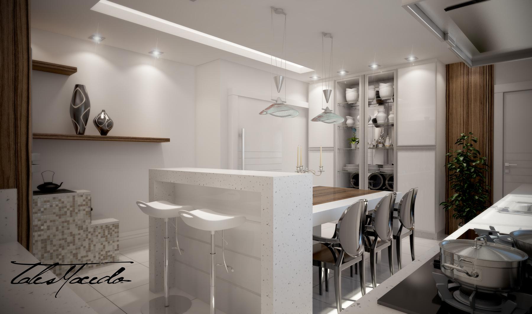 apartamento arquitetura cozinha decoração iluminação kitchen  #2F261E 1800 1064