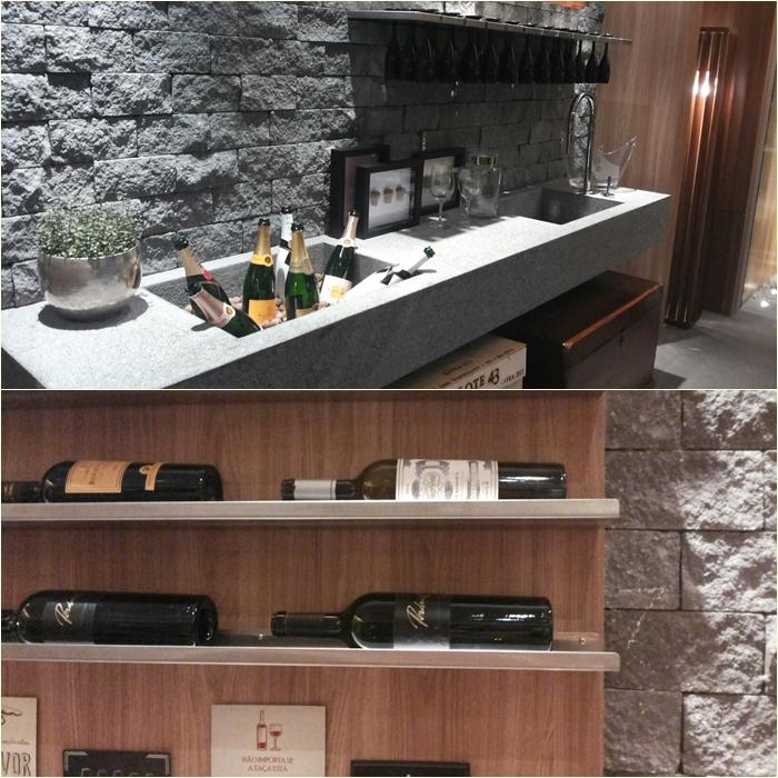 Bancada bacana e prateleiras para os vinhos (Foto: Claudia Marandino.. de mobile...)