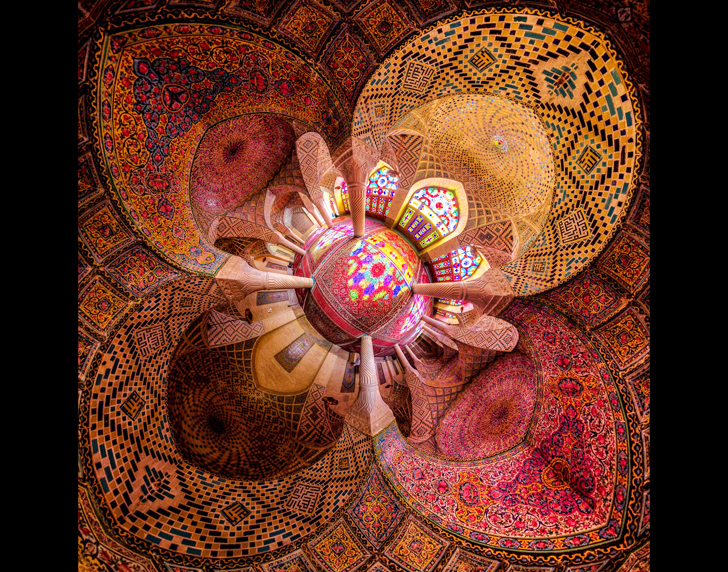 Little planet view of Nasir al-mulk mosque