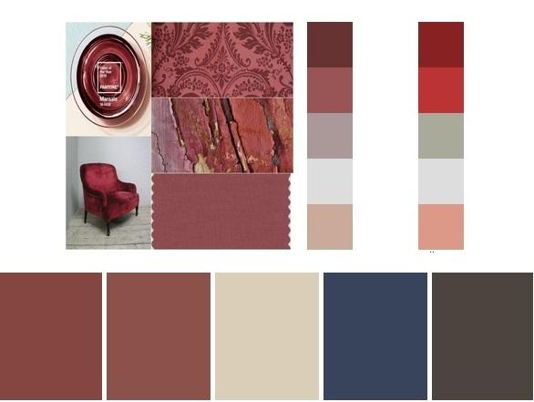 Paleta de cores harmônicas com o marsala