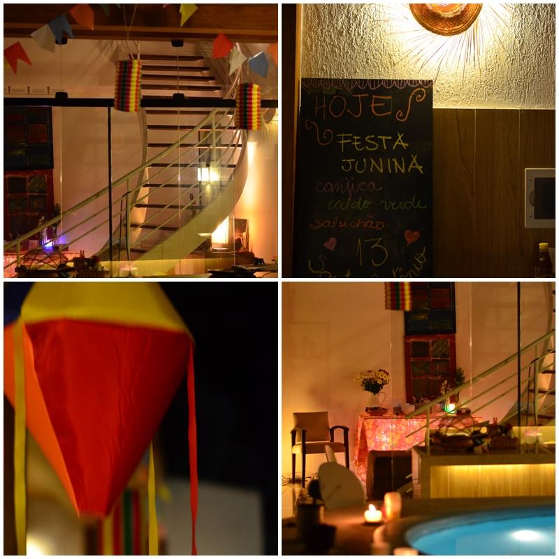 A casa foi decorada com bandeirinhas, lanternas e balões... nada demais. No quadro-negro o evento e o cardápio.