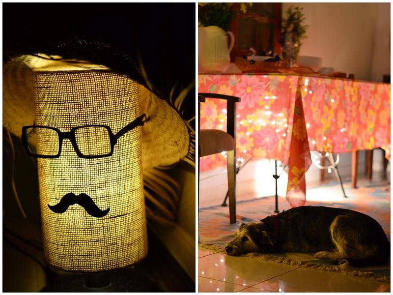 Meus companheiros de todas as horas: George, minha luminária, que trocou o chapéu panamá por um de caipira, e Zé, nosso legítimo viralata