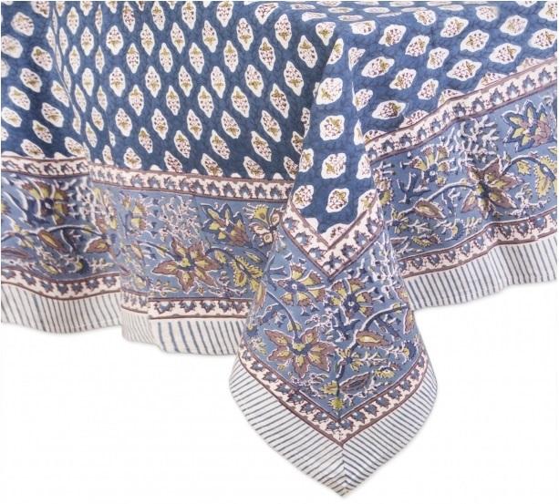 toalha de mesa de algodão blockprint azul 2,25 diam R$319,00