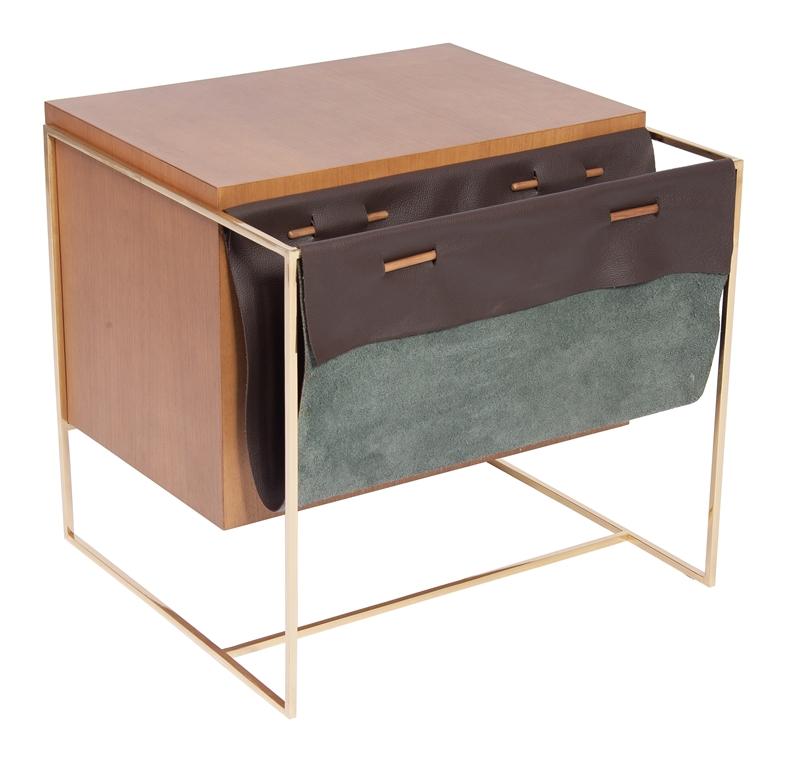 Mesa Lateral Box assinada pela Lattoog Design em catuaba, metal pintado e couro natural com 56x53x52,5cm de alt por R$ 5.495,50 na WAY DESIGN (1)